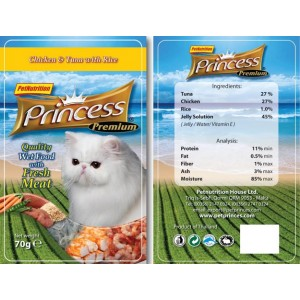 PRINCESS CHICKEN & TUNA WITH RICE & CRABSTICK 70g.