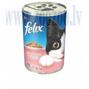 Felix Lach & Forelle Gelee - Pieaugušiem kaķiem (forele un lasis) 400 g.